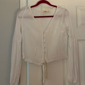 Hollister white button down blouse